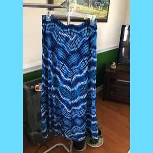 Blue Water Patterned Maxi Skirt